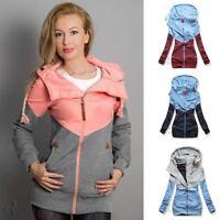 Plus Size Women Hooded Jacket Long Sleeve Short Coat Zipper Outerwear Coats Thin