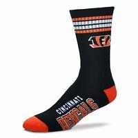 Cincinnati Bengals For Bare Feet Men's NFL 4-Stripe Deuce Crew Socks SZ M