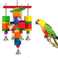 FM- NE_ Colorful Funny Pet Birds Parrot Chew Bite Climbing Cage Toy Wooden _GG