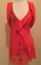 NWT Nanette Lepore Top Blouse Tank Shirt 2 Beaded Embellished Red Anthropologie