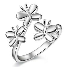 Three Butterfly Wrap Thumb Ring Ladies 925 Sterling Silver Adjustable Finger