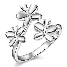 Tre Farfalla Wrap Thumb Ring Donna Argento Sterling 925 Dito Regolabile
