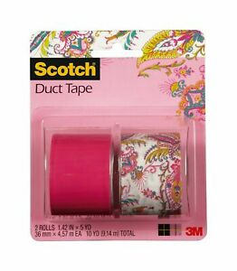 New Scotch Duct Tape Paisley Princess and Hot Pink 1.42 Inch by 5 Yards