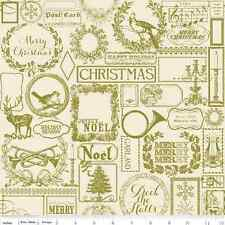 Fat Quarter Lost & Found Christmas Green Cotton Quilting Fabric - Riley Blake