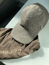 Genuine GUCCI LIGHT GREY Taupe 100% WOOL BASEBALL CAP HAT SIZE S Small VGC W/Bag