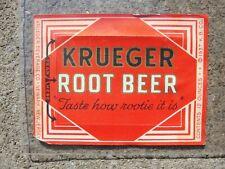 Krueger Root Beer paper label Kb Krueger Brewing Co. Newark Nj 1937 game