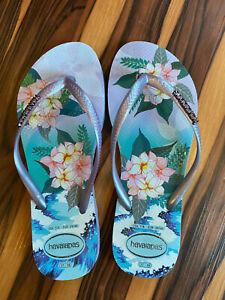 Havianas Slim Hibisco Purple Flip Flop, Size 7/8 - Great Condition!