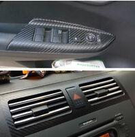 3D Black Carbon Fibre DIY Vehicle Interior Door Panel Handle Vinyl Film Sticker