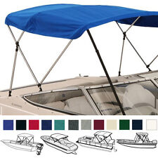 "BIMINI TOP BOAT COVER BLUE 3 BOW 72""L 46""H 79""-84""W -  W/ BOOT & REAR POLES"
