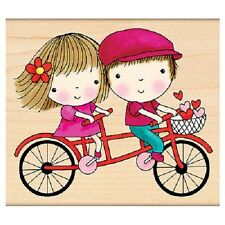 PENNY BLACK RUBBER STAMPS MIMI GOES TANDEM RIDE BIKE NEW wood STAMP