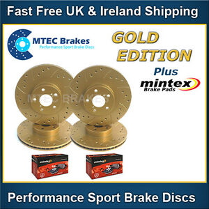 Civic Type R EP3 01-05 Front Rear Drilled Grooved MTEC Gold Brake Discs & Pads