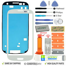 Samsung Galaxy S3 Front Glass lens Screen Replacement Repair Kit WHITE +UV Glue