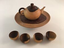 Miniature wood tea set toy dishes