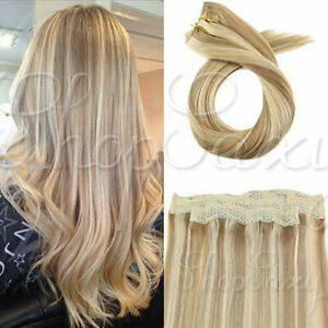 Long Halo secret Invisible Wire Human Hair Extensions Remy Hair Balayage Ombre