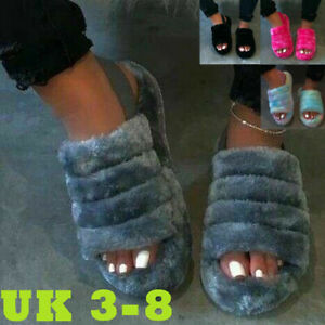 Womens Ladies Black Fluffy Slip On Summer Sliders Slippers Size 3 4 5 6 7 8 9