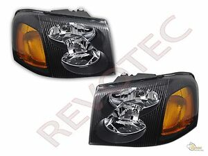 02-09 GMC Envoy 02-06 Envoy XL 04-05 XUV Black Housing Headlights Head Lamps