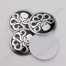 4Pcs 56.5mm Hydra Silver Skull Car Wheel Center Hub Cap Emblem Stickers Aluminum