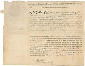 Benjamin Franklin DS: Revolutionary War bounty land grant beautifully signed