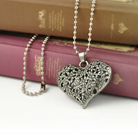 Vintage Women's Carved Silver Tone Heart Flower Long Chain Pendant Necklace Gift