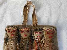New ListingAntique Wall Decor Folk Art Four Attached Handmade Dolls Sewn on Burlap Fabric