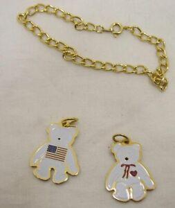 """Gold Tone 7"""" Bracelet with Ty Beanie Baby Heart Bear & US Flag Bear Charms"""