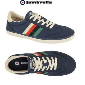 Lambretta MOD Trainers Navy Canvas Mens Lace Up Cushioned Vulcan Shoes UK 7 - 12