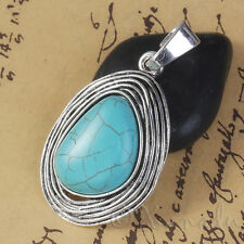 Oval Imitation Turquoise 62mm Antique Silver Plated Pendant C8157 - 1, 2 Or 5PCs