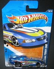 2010 Hot Wheels BLUE FORD MUSTANG FUNNY CAR Dragster Long Card MOC HTF Pony