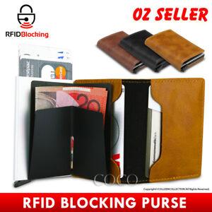 RFID Blocking Leather Credit Card Holder Case Men's Money cash Wallet Clip Purse