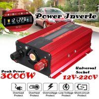 3000W Car Solar Power Inverter DC 12/24V to AC 110/220V LCD Sine Wave Converter