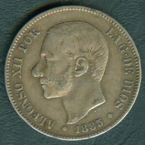 1885 Spain ALFONSO XII 5 pesetas Crown Size Silver Coin #A2