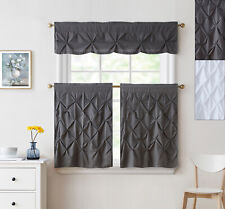 "Hudson Pintuck Kitchen Window Curtain 36"" Tier Pair and Valance Set"