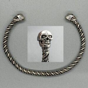 Skull Torc  .925 silver bangle biker viking arm ring mjolnir thor odin pagan