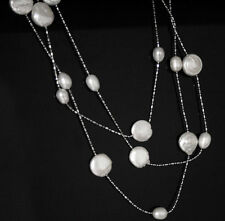 Natural White Freshwater Pearl Link Chain Station Twinkle Long Chain Necklace