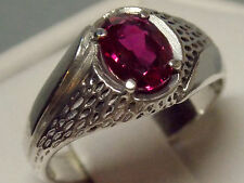 mens 1.55ct red Ruby 925 sterling silver ring size 11 USA made