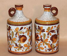 Large Pair Vintage Italian Incised Art Pottery Kitchen Canister Jar Jug Raymor