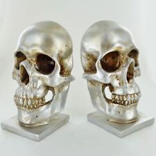Silver Skull Bookends Home Office School Desk Book Ends Decorative Bookshelf