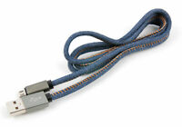 1M Denim Style Jeans Micro USB Data Sync Cable For Playstation 4  Controllers