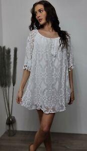 Kaftan Lace Dress Tunic White Lace Tassels Floaty Boho 12 14 16 18 20 22 NEW