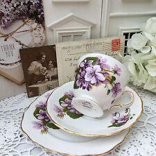 Royal vale Platillo de taza de porcelana china. 1950/60s Trio Placa Set-Púrpura violetas Dorada