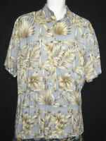 Men's Small Campia Tropical Hawaiian Shirt Blue with palm fronds lei flowers