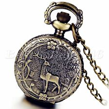 Retro Bronze Steampunk Flower Deer Antlers Quartz Pocket Watch Pendant Necklace