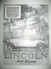 PUBLICITE DE PRESSE LINCOLN AUTOMOBILE CABRIOLET COTE D'AZUR FRENCH AD 1930