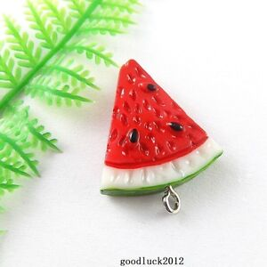 51338 Colorful Fruit Red Watermelon Shape Resin Pendants Charms Findings 10PCS