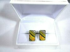 Men's Natural Indonesian Bumble Bee Jasper Solid Sterling Silver Cufflinks