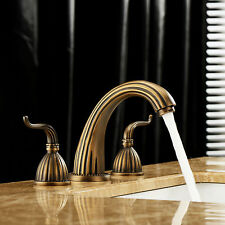Retro Brass Waterfall Bathroom Faucet Chrome Brass Spout Vanity Sink Mixer Tap