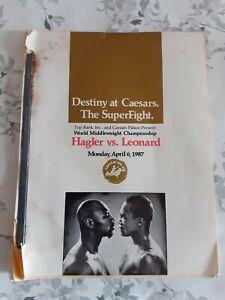 RARE 1987 MARVIN HAGLER Vs SUGAR RAY LEONARD SUPERFIGHT MEDIA PRESS BOOK BOXING