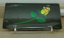 Yellow Rose long stem Flower (black) acrylic mirror laser cut license plate