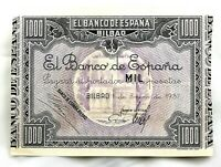 Spain-Guerra Civil. Billete. 1000 Pesetas 1937 Bilbao. SC-/UNC-. Bello ejemplar