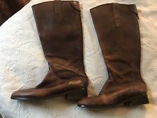 5bb5420f725 Anthropologie Knee Boots Brown Leather boots Zip Up Button Clasp Sz. 10  Riding